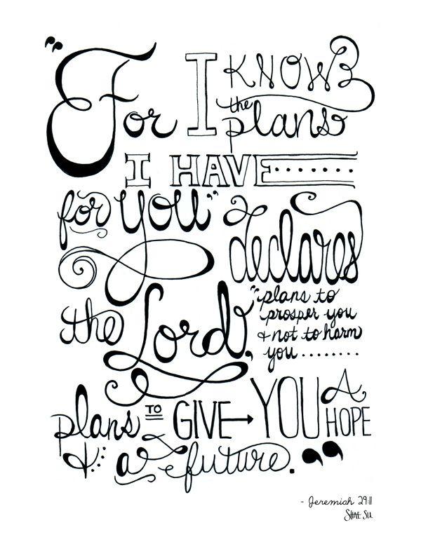 Jeremiah 29:11 ~ Quotes, Verses, Word Art on Behance