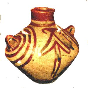 Another ovoid pot with lugs also from Hacilar c.5200 BC. Western Turkey