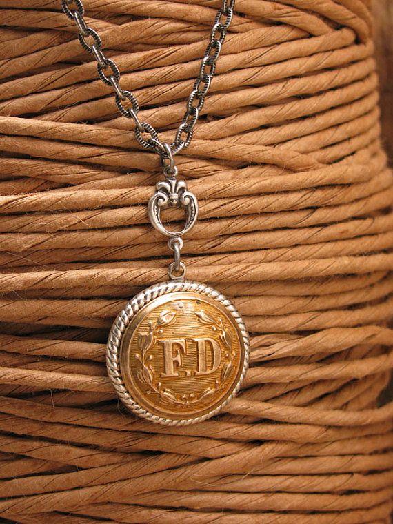 Button Jewelry - Fire Department - Brass FD Button Pendant Necklace - September 11 - Remembering 911 - Fireman