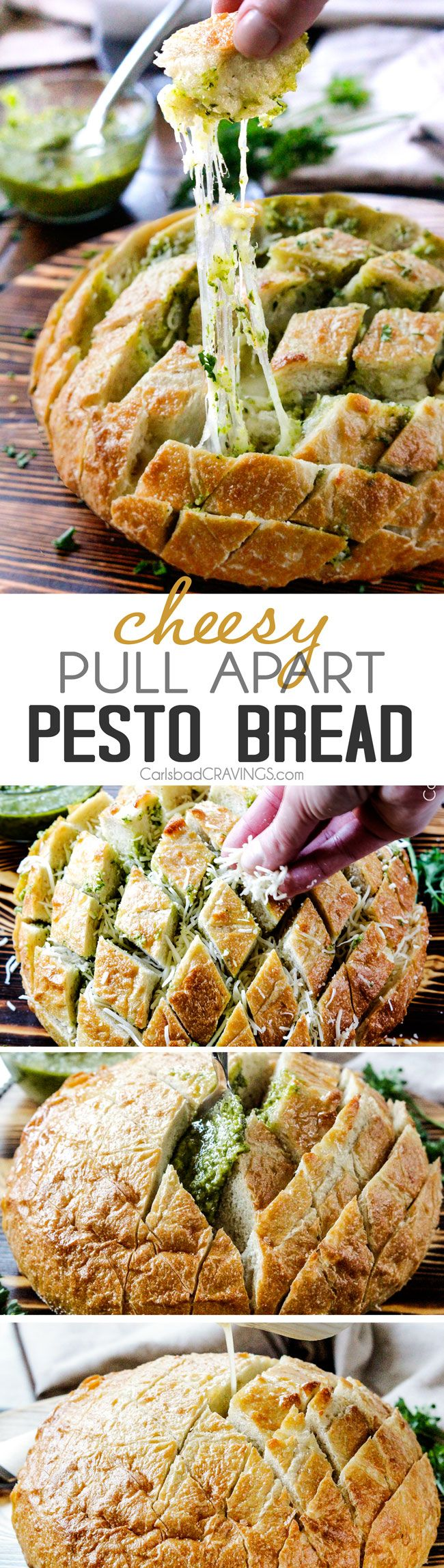 4 Ingredient, make ahead buttery, Cheesy Pull Apart Pesto Bread is SO addictingly delicious and couldn't be any easier!  the perfect party or game day appetizer or AMAZING company side!  #ad #SK #Chew