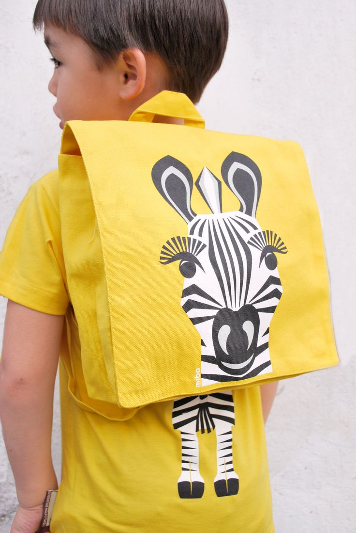 Yellow Kids Backpack Zebra in organic cotton by Coq en Pate / www.littlefrenchy.com.au  #backpack #backtoschool #zebra #saveourspecies #coqenpate