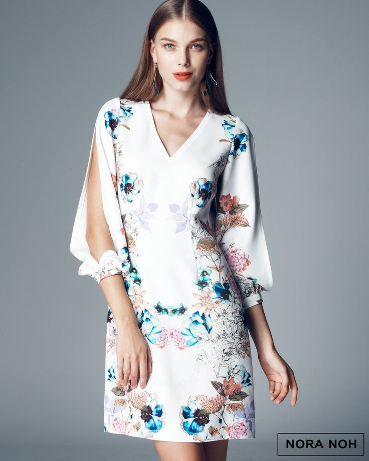 White Floral Dress with Split Sleeve by Nora Noh
