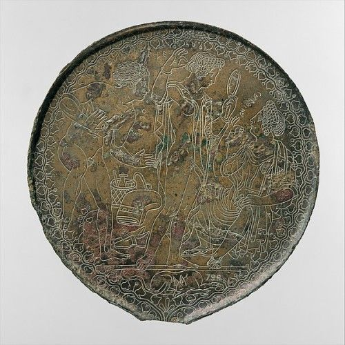 Etruscan bronze mirror  Late Classical period, ca. 350 B.C.  Pele (Greek: Peleus) surprises his bride, Thethis (Greek: Thetis), who is assisted by the nereid Calaina (Greek: Galene) as she gazes into a mirror. Between Peleus and Thetis, who later...