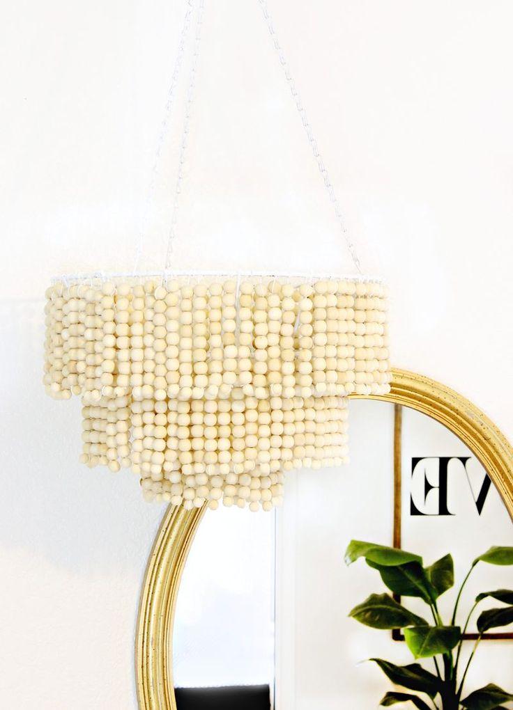 DIY: wooden bead chandelier