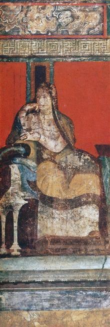 Pompéi, Villa des Mysteres, Triclinium (chambre) : scène d'initiation aux mystères de Dionysos ou rite d'initiation féminin, 1er siecle av J.-C.