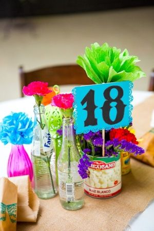 coke bottles, photo, flowers Centerpiece