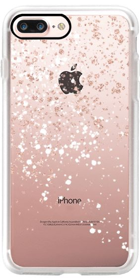 Casetify iPhone 7 Plus Classic Grip Case - Modern elegant rose gold glitter white confetti splatters by Girly Trend by Girly Trend #Casetify
