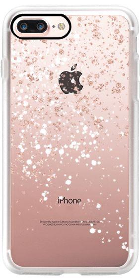 Casetify iPhone 7 Plus Classic Grip Case - Modern elegant rose gold glitter white confetti splatters by Girly Trend by Girly Trend #Casetify