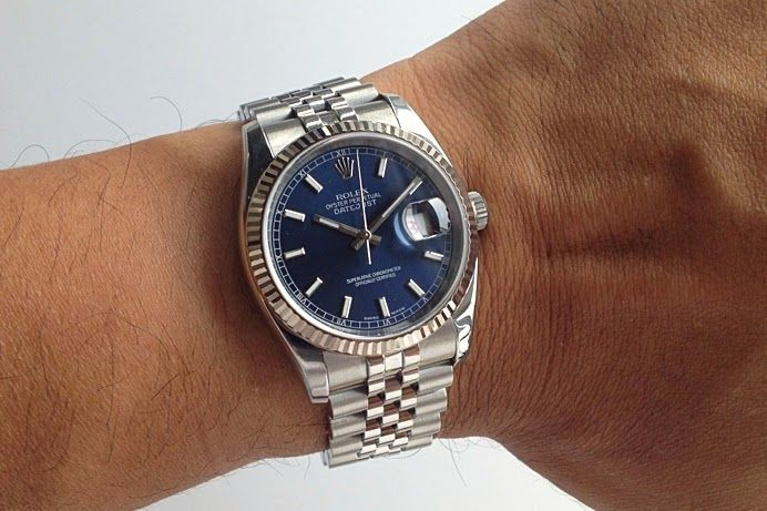 Rolex Datejust With Super Jubilee Bracelet Fluted Bezel And A Blue Dial Watches Pinterest