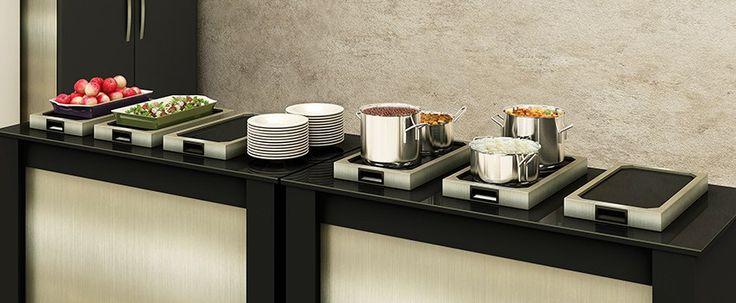 Pista portátil buffet de mesa Allkit panelas e travessas - Servir alimentos em restaurantes, padarias e café da manhã.