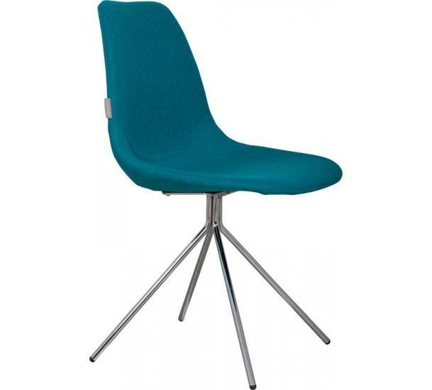 Skalstol i blå, ben i krom - Gratis fragt