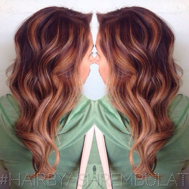 Balayage Highlights for red hairBefore and After | Style Me Pretty - A copper/red base with a golden balayage highlight ...