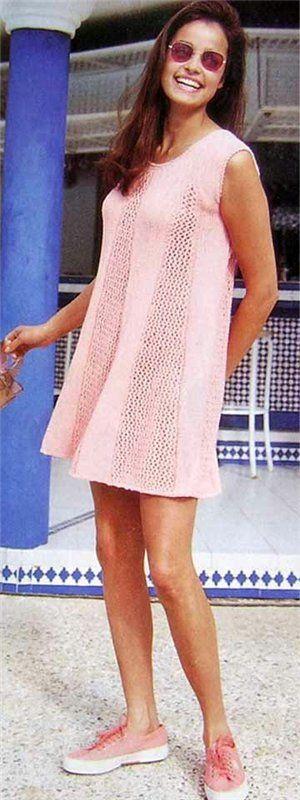 Туника нежно розового цвета - Пуговка - вязание спицами и крючком для всех