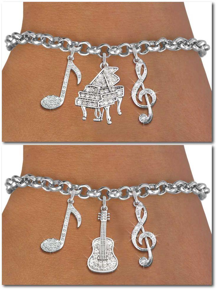 Music Three Charm Bracelet - Silver chain bracelet w Austrian crystal silver charms