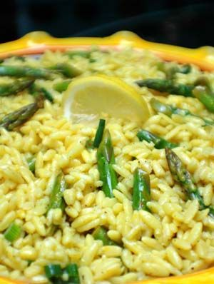 Lemon Orzo with Asparagus  I made this tonight with two adjustments: I roasted the asparagus and I only zested one lemon. This was very good, quick and easy to make. Will make again.