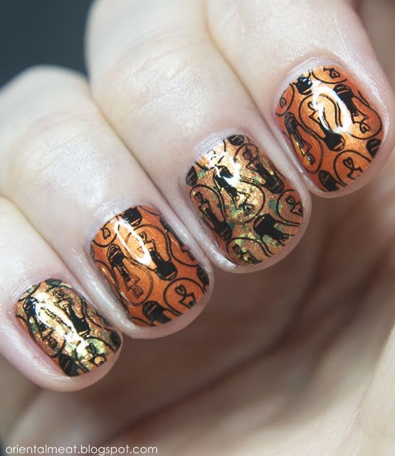 31DC2015-Orange nails