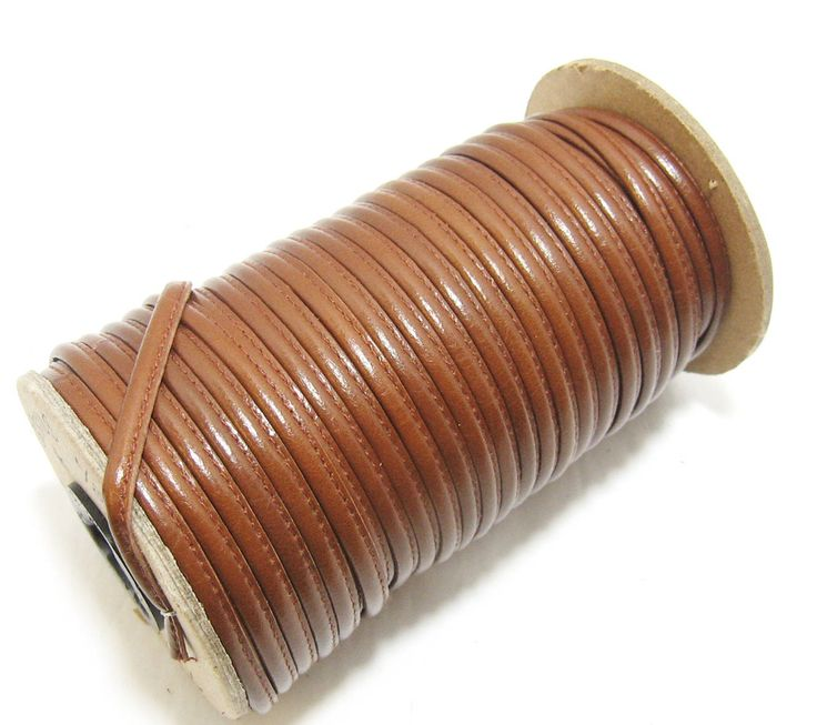 """3/16"""" Stitched Round Reinforced Leather Jewelry Cord in Country Tan (3 YDS) 3656XDB"""