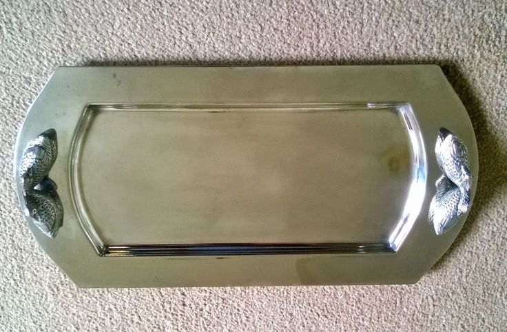 Silver Coloured Metal Bonbonniere / Sweet Tray with Duck? / Geese? handles.