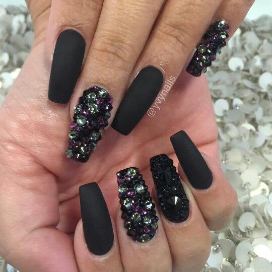 Black bling nails Swarovski crystals Nail Art Design