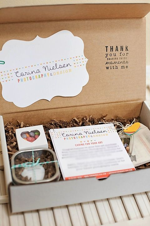 I love this simple box design. include a thank you, photo information, flash drive, business cards, and treats.