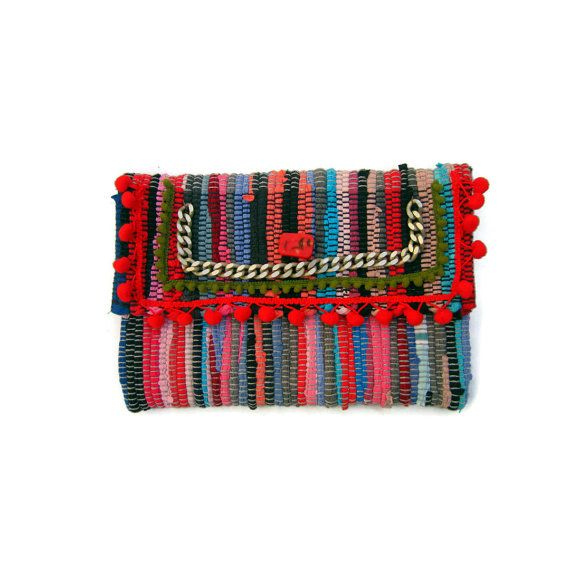 Boho Chic Envelope Clutch. Embellished OOAK Kilimbag. Colorful Kourelou Purse. Bohemian Clutch. Gift for Her. Kourelou Bag. Womens Gift