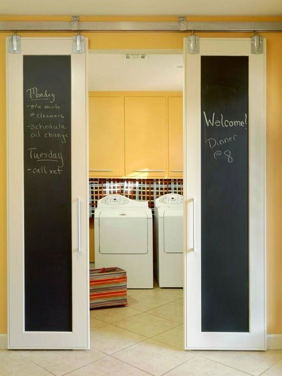 sliding doors for basement bedroom?  Love the chalkboard!  Maybe without trim? Totally awesome!!