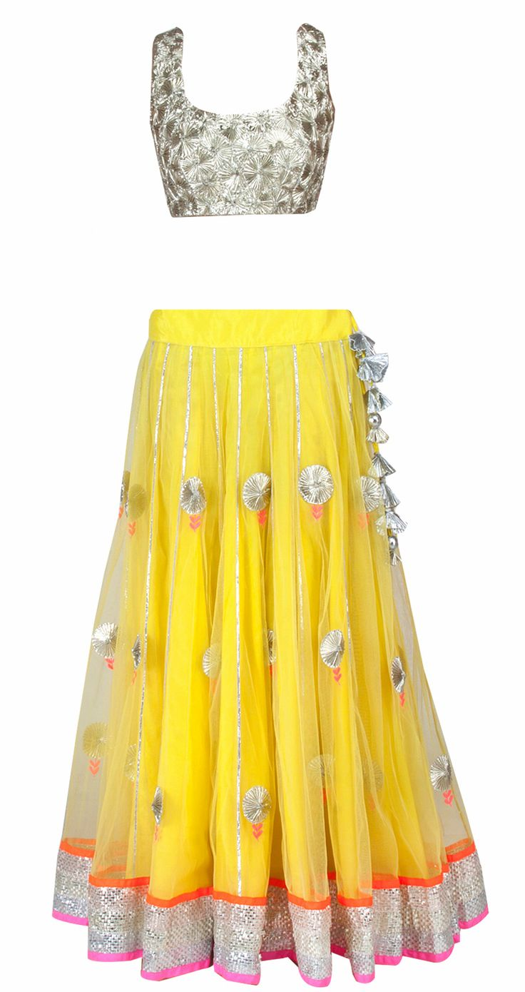 Yellow and neon pink #lehenga with textured gota choli. Available only at Pernia's Pop-Up Shop.