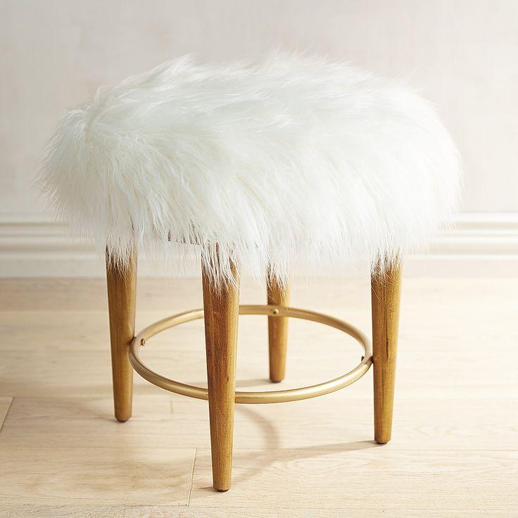 Kate Faux Fur Vanity Stool