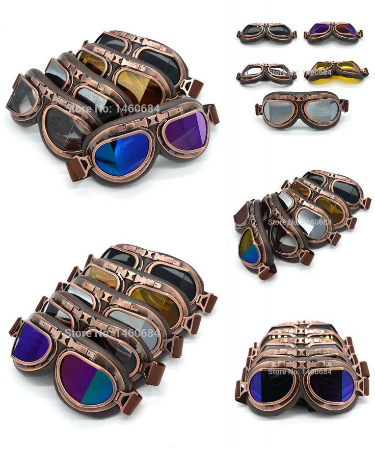 [Visit to Buy] Evomosa Vintage Motorcycle Goggles Retro Aviator Pilot Cruiser Steampunk Motocross Classic Goggles ATV Bike UV Protection Copper #Advertisement