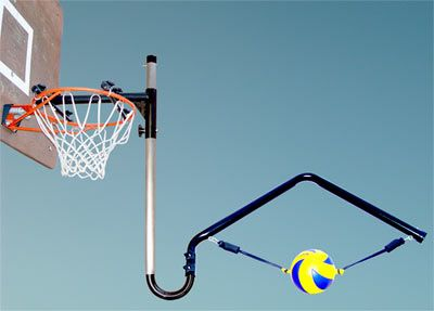Volleyball Spike Trainer VST-300 Practice ball contact, arm swing, and footwork techniques with the new Volleyball Spike Trainer for fixed height Basketball Hoop Systems.