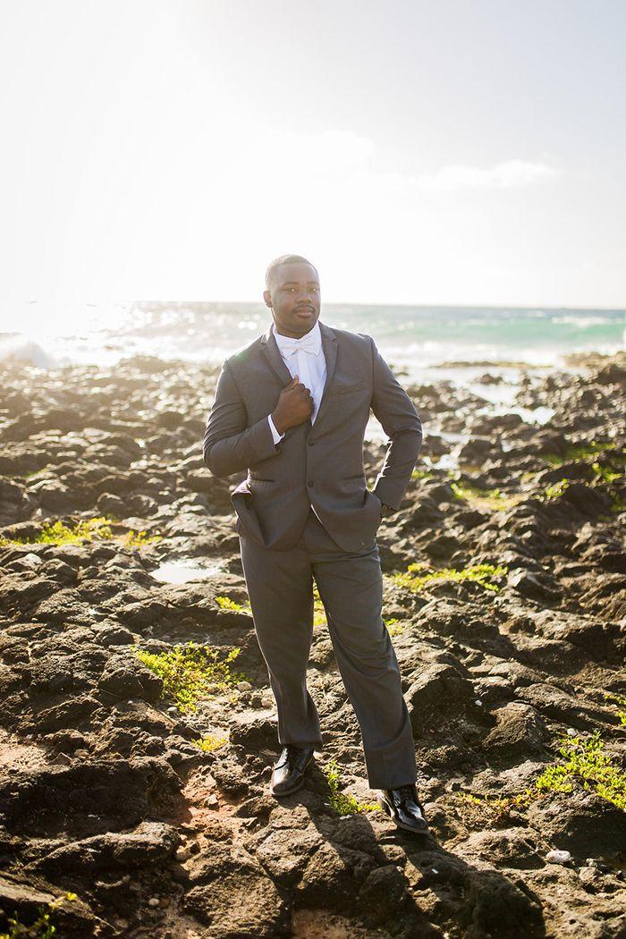 Gray Suit and White Bow Tie for a Beach Chic Groom   #wedding #groom #hawaii #destinationwedding #beachwedding