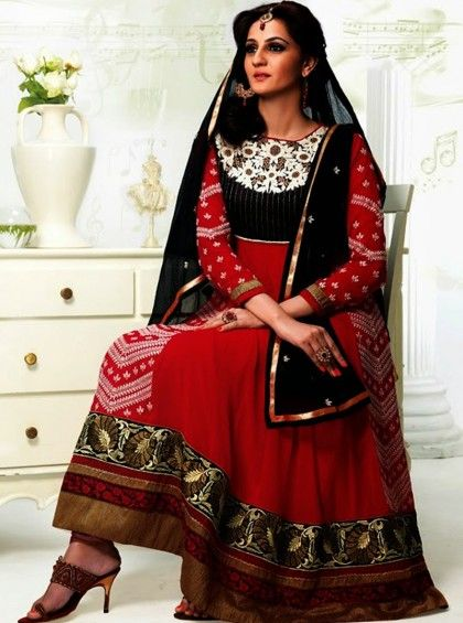 Item #: 3907 Red & Black Faux Georgette Fabric Anarkali Suit Color : Black, Red Fabric : Faux Georgette Occasion : Bridal, Casual, Party, Reception, Wedding Style : Anarkali Dress Work : Embroidered, Patch Border Shop Here:- http://www.silkmuseumsurat.in/salwar_kameez/red-black-faux-georgette-fabric-anarkali-suit