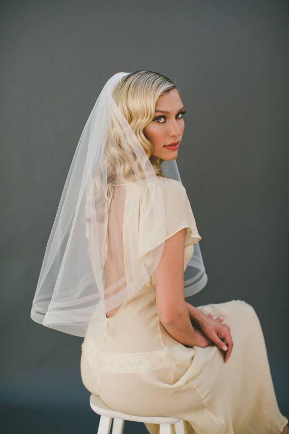 """1"""" & 1/2"""" Horsehair Veil, Bridal Veil, Organza Veil, Organza Ribbon Edge Wedding…"""