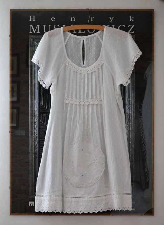 white summer dress, vintage, upcycled clothing, cotton dress, romantic styl, shabby chic
