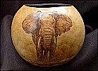 Elephant gourd Pyrography (Woodburning) -  Another gift I have from Sue. (Sue Walters)