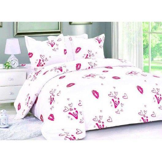 Biele posteľné obliečky so srdiečkami