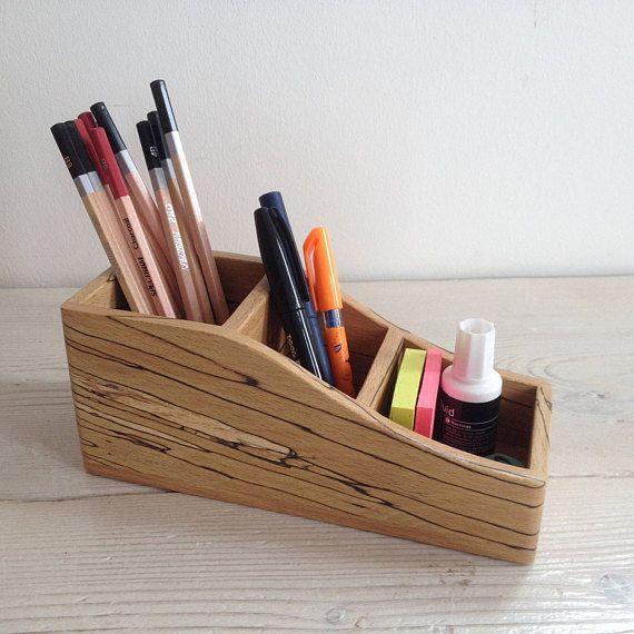 Wooden storage box, triple, desk tidy, catch-all, pen holder, makeup holder, brush holder, spalted beech, oddments, natural, gift, wood