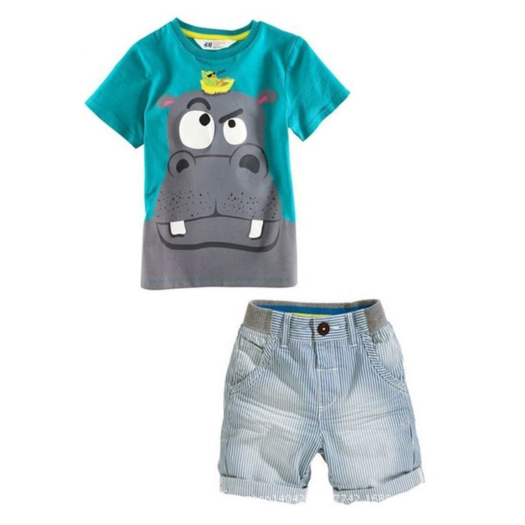 Boy Summer Clothes Suits Hippo Short Sleeve T Shirt+Striped Shorts Children Set Clothing 2-7 Yrs Child Casual Outfits Tracksuits