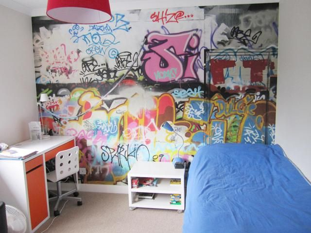 Graffiti wallpaper makes fantastic wall art create bespoke pieces too ideal for children 39 s Painting graffiti on bedroom walls