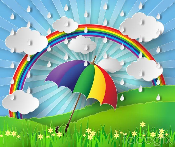 Rainy season an umbrella with Rainbow clip art vector ...