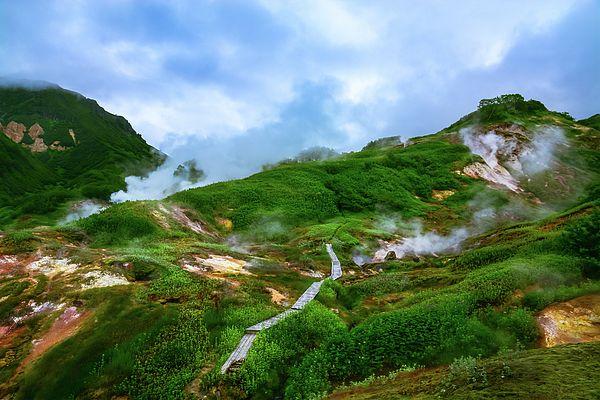 Nadezhda Tikhaia Photograph - The Valley Of Geysers. Kamchatka, Russia by Nadezhda Tikhaia  #NadezhdaTikhaiaFineArtPhotography #ArtForHome #HomeDecor #Nature #Landscapes #InteriorDesign #FineArtPrints