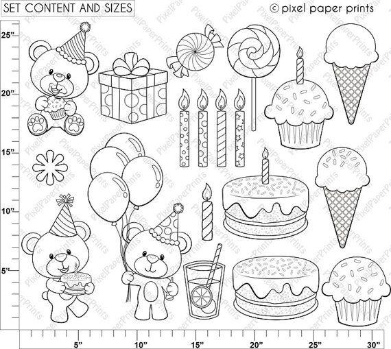 Birthday Bear Digital Stamps Clipart