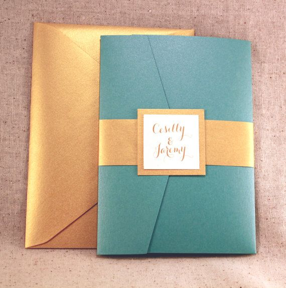 Wedding Invitation - Lovely Teal Peacock Blue Pocket-fold Wedding Invitation Set with Gold on Ivory on Etsy, $10.50