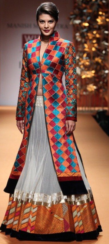 lehenga paired with phulkari jacket
