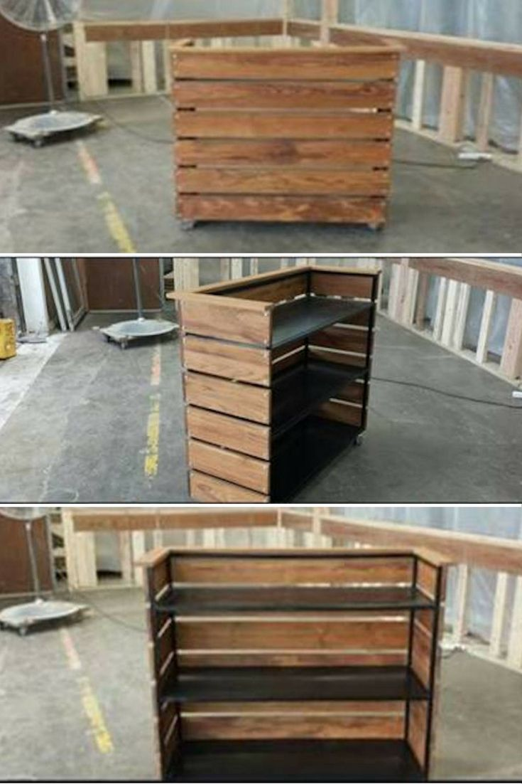 This is a rolling reception desk for a small footprint. Shown as a mobile hostess stand it can easily be for either application. Made from wood & metal, this has an industrial look. You can do any wood species: Elm, Walnut, Hackberry, Reclaimed, Pine, etc. We also have a concrete looking product we would love to try to give a more modern reception desk look.