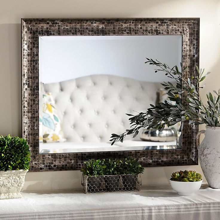 Black Mosaic Framed Mirror, 28x34 in : Frame mirrors and Flats