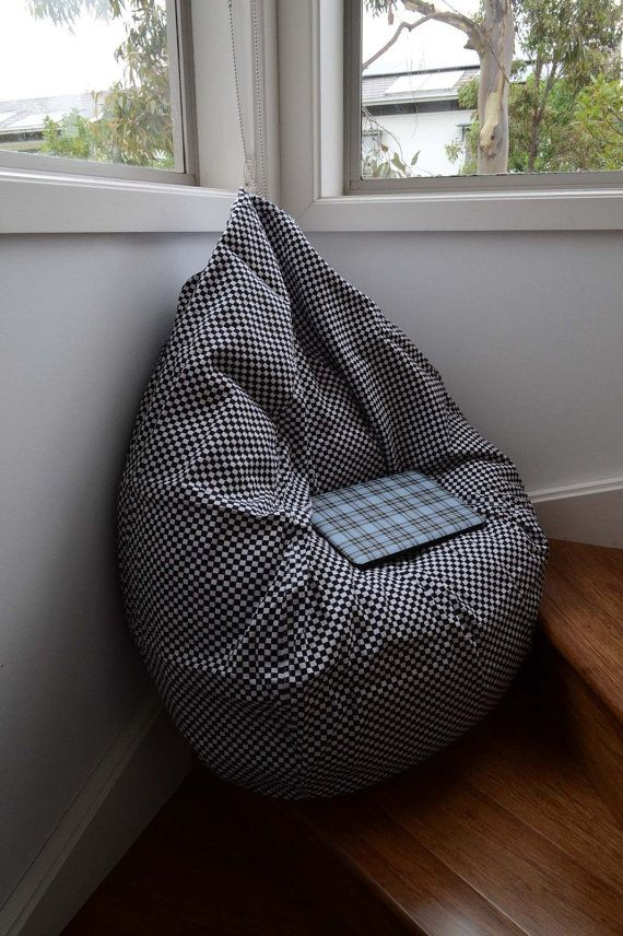 Stylish 200L Black And White Bean Bag Chair Beanbag By Bulleatpig