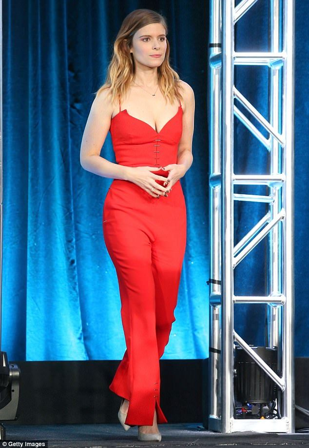 Red hot:Kate Mara looked stunning as she walked on stage to join her colleagues on the Pose panel at the TCA Press Tour in Pasadena, California on Friday