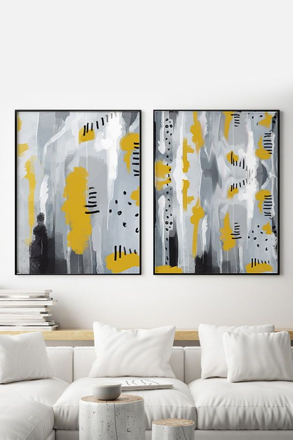 Set Of 2 Modern Art Prints In Yellow And Grey Large