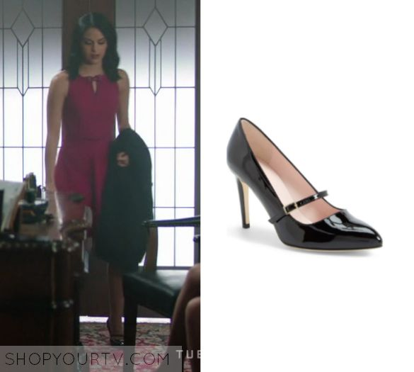 "Riverdale: Season 1 Episode 10 Veronica's Strap Heels | Veronica Lodge (Camila Mendes) wears these short black strap patent heels in this episode of Riverdale, ""The Lost Weekend"".  They are the Kate Spade 'nilda' pump."